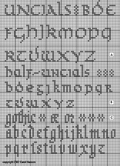 historic sampler charted by Carol Hanson.  Unicals were used from 4th to 9th century as script (original design after Stoner and Frankenfield).
