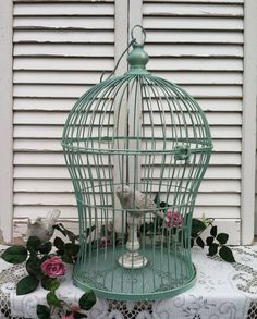 Victorian Shaped Mint Bird Cage / 19  I like the color