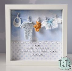 Personalized frame box. This decor is perfect for hanging on the wall at childs room. Perfect as baby birthday gift. Frame contains 3 handmade elements (little clothes) little Bear and beads with first name, birth date, birth time, weight etc. You can choose version for a girl or a boy.