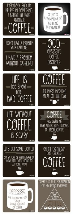 I love coffee quotes. I collected my favorite 12 coffee quotes. Coffee Is Life, I Love Coffee, Coffee Art, My Coffee, Coffee Drinks, Coffee Cups, Coffee Lovers, Coffee Break, Coffee Maker