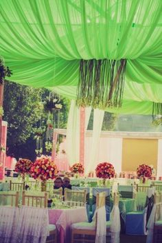 Looking for green and pink setting decor? Browse of latest bridal photos, lehenga & jewelry designs, decor ideas, etc. on WedMeGood Gallery. Shabby Chic Canopy, Indian Wedding Stage, Mandap Design, Online Wedding Planner, Wedding Story, Dream Decor, Wedding Website, Wedding Designs, Wedding Ideas