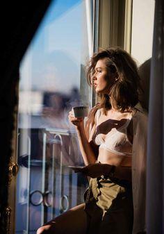 sat drinking tea in morning Karmen Pedaru by Gilles Bensimon for Elle France January 6th, 2017