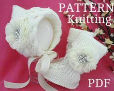 Knitting PATTERN Baby Set Baby Bonnet Baby Hat Cap Knitted Baby Shoes Baby Booties Baby Uggs Knit Pattern Babies Baby Girl Newborn Infant