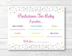 Pink Baby Sprinkle Baby Predictions / Baby by LittlePrintsParties