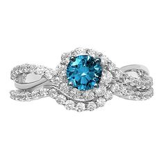 Learn about our 1 ct. Blue & White Diamond Engagement Ring Set in White Gold. Browse our rings at Helzberg Diamonds today! Classic Engagement Rings, Shop Engagement Rings, Perfect Engagement Ring, Engagement Ring Settings, Diamond Engagement Rings, Small Wedding Rings, Bridal Rings, Small Diamond Rings, Rings For Her