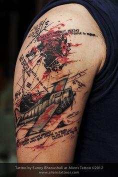 Abstract Plane Tattoo (Cover Up), Concept, Design and Inked by Sunny at Aliens Tattoo, Mumbai. Client is a pilot and so he wanted a fighter plane as his first tattoo, he got his old tattoo from one of the famous tattoo studios in Mumbai, however he was not happy with the output, He lived with his messed-up tattoo for couple of years until he could find someone who can repair it and give justice to his original idea of tattoo. He chose us to do his cover...... http://www.alienstattoos.com