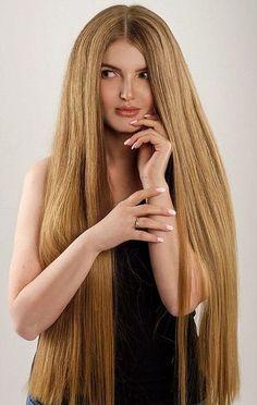 Beautiful Long Hair, Gorgeous Hair, Layered Haircuts With Bangs, Hair Addiction, Really Long Hair, Silky Hair, Her Hair, Girl Hairstyles, Blonde Hair