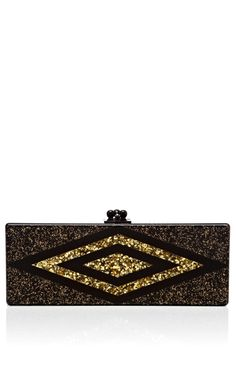 Black And Gold Glitter Flavia Clutch With Gold Confetti Diamond Decal by Edie Parker