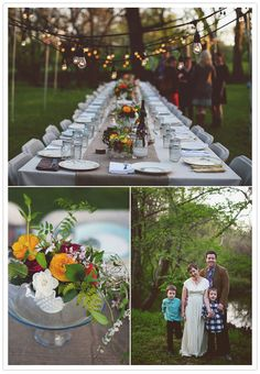 3 things I love, all in one place - the outdoors, vintage string lights, family style dining
