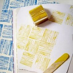 Yarn stamping - this would be a cute background for greeting cards, scrapbook pages, etc. Such a great idea and so simple...