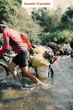 Amazing adventure of Mike 3 years traveling by bicycle around Asia. Here pushing his bike.