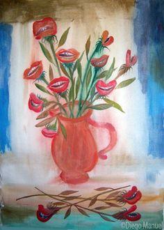 flores bocas. Painting of the Serie Still Life for sale by artist Diego Manuel. Cuadro en venta de la Serie Naturaleza Muerta