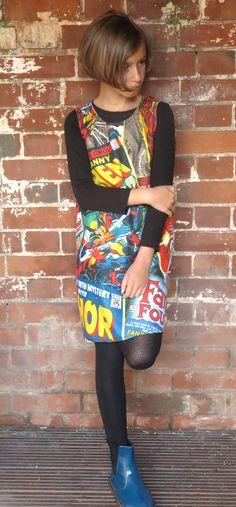 Upcycled Marvel Comic pinafore dress. £24-£27