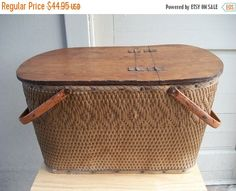 ON SALE 20% OFF Large Vintage Rustic Redmond Woven Picnic