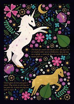 Carly Watts Illustration: Unicorn #folk #magical #unicorn #horse #floral #decorative