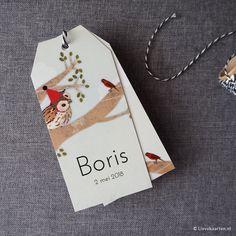 Labelkaartje Boris met uil op tak | Lievekaarten.nl | #geboortekaartjes birthannouncements zwanger uiltje