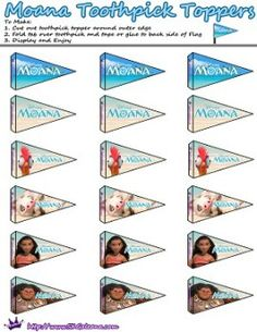 Moana Printable Toothpick Flag by SKGaleana | Free Moana Printable Crafts, Activities and Party Supplies