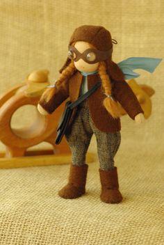 Pilot girl waldorf doll // original gift for girl // by TaleWorld
