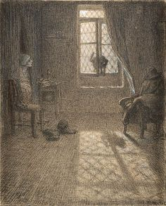 The Cat Who Became a Woman | pastel and chalk drawing, about 1857 - 1858 | Jean-Francois Millet ----- J. Paul Getty Museum