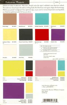 Sherwin Williams suburban Modern paint colors: # 1 for 50s style retro paint palette