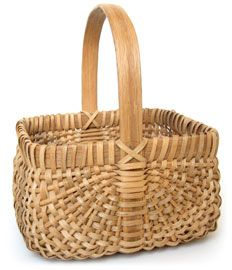 "Westfall Basket  11.5"" x 9""  Marjorie Westfall Prewitt    The Westfall family of central Missouri has been making their unique white oak ribbed baskets for over 100 years.  Marjorie is the only Westfall to make a square shaped basket. Her nephew, Ron continues the five generation legacy of the Westfall basket."