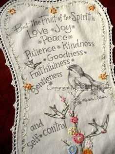 Fruit of the Spirit on vintage doily, Galations 5:22-23.