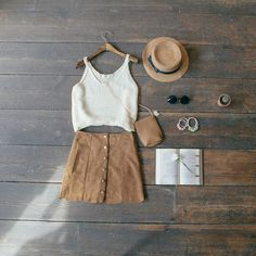 Cropped Knit Vest & Suedette Button Detail Mini Skirt: www.oliveclothing.com