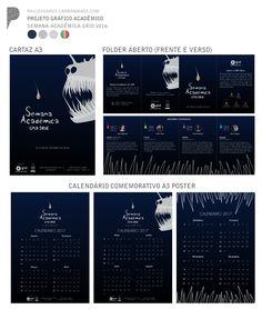 Trabalho Acadêmico de Projeto Gráfico 1 - ULBRA 2016/1  Briefing: Semana Acadêmica GRID 2016, poster, folder e calendário.  O projeto foi desenvolvido seguindo as metodologias criativas de Bruno Munari, entregue acompanhado de um brainbook (memória de projeto) e relatório. Além disso o projeto foi selecionado como o melhor da disciplina, apresentei na semana das cadeiras de projeto do GRID (Grupo integrado de Design).