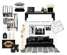 """""""Life in black and white"""" by nunisquare on Polyvore featuring interior, interiors, interior design, hogar, home decor, interior decorating, Tempaper, Oliver Gal Artist Co., Mike + Ally y Eichholtz"""