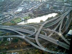 What's not to love about Spaghetti Junction? Aside from driving on it. I really like that it starts at the bottom with a canal, then has trains and roads layered on each other til you end up with this.