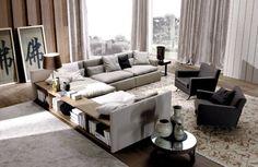sofa design eck polsterung holzregale  domino von frigerio