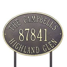 """Hawthorne Estate Lawn Address Plaque - Black with White Type - Frontgate by Frontgate. $199.00. 19""""L x 14""""H, 7 lbs. 1-3/4"""" characters on first and third lines. 4-1/2"""" characters on second line."""