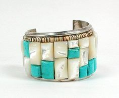 Vintage Gilbert Ortega  Navajo Sterling Silver  Turquoise and Mother of Pearl  Cobblestone Cuff Bracelet