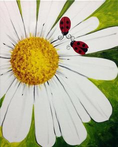 Things to paint. Daisy. Ladybugs. Flower.