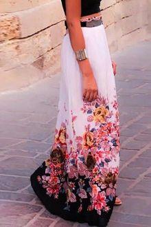 Floral Print Chiffon Maxi Skirt