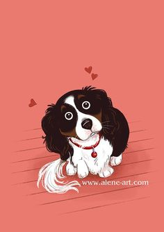 Alene Illustration: Pleeeeeeeeeease....? by Alison Mutton | www.alene-art.com | This is from a series of pictures of my dog Myrna - she's a cavoodle and is the current subject of my Colour Collective sketches on twitter. This was for 'Pompeian Red', which I thought made a good background for that big-eyed doggy-bribery technique. #art #drawing #petportrait #pets #dogs #childrensillustration #cute #sweet #love #kidlitart