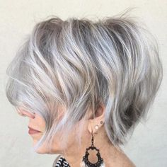 Tousled Gray Balayage Bob | For more style inspiration visit 40plusstyle.com