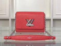 Louis Vuitton Twist Epi MM M50523 Red Louis Vuitton Red Purse, Louis Vuitton Crossbody Bag, Vuitton Bag, Crossbody Bags, Handbags On Sale, Luxury Handbags, Designer Bags For Less, Red Bags, Bag Sale