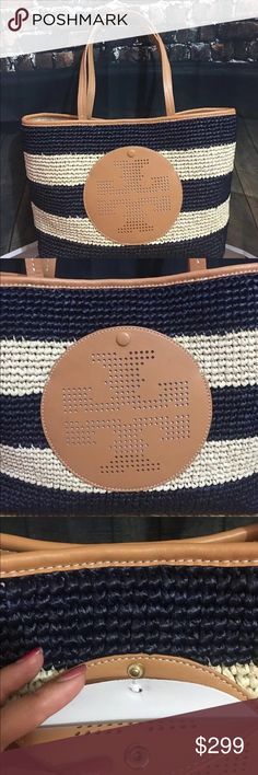 Tory Burch perforated logo straw tote bag NWT New with tag. Come with dust bag. Tory Burch Bags Totes