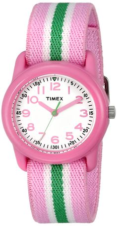 Timex Kids' TW7C059009J QA Pink Stainless Steel Watch With Pink Striped Band