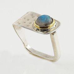 Labradorite Two Tone Sterling Silver Square Ring