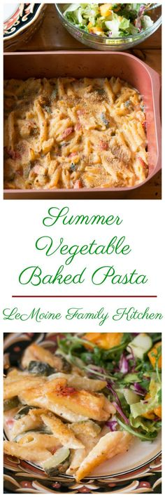 I've used some of my favorites of the season in this Summer Vegetable Pasta Bake. The vegetables are bright, the sauce is so flavorful and creamy. Yummy Pasta Recipes, Easy Delicious Recipes, Casserole Recipes, Meatless Recipes, Meal Recipes, Greek Recipes, Veggie Recipes, Delicious Food, Dinner Recipes