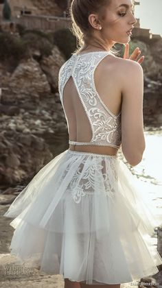 danny mizrachi 2018 bridal sleeveless halter jewel neck heavily embellished bodice tulle skirt above the knee short wedding dress keyhole back (21) bv -- Dany Mizrachi 2018 Wedding Dresses