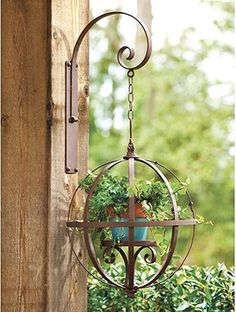Orb Hanging Planter from Ballard Designs. Diy Planters Outdoor, Hanging Planters, Garden Planters, Garden Art, Outdoor Gardens, Garden Design, Decoration Plante, Iron Decor, Landscape Plans