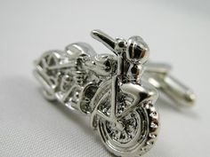 Mens Cufflinks- Fashion Cufflinks, Silver Motorcycle Design, with a Gift Box