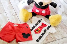 Justin's Birthday Outfit!! Mickey Mouse Birthday Tie and Suspender Bodysuit by shopantsypants.