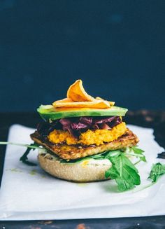 Chile Pepper Tempeh Burger with Miso Carrot Cream