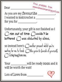 Winwick Mum: Gift IOU - free printable download