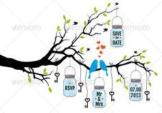 Wedding Invitation of Birds on Tree with Jars