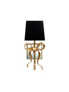 "Ellery Small Gros-Grain Bow Sconce from Kate Spade for Visual Comfort ""These sconces are beyond. I love the contrast of the feminine brass bow with the black shade… and I can't wait to find a place for these in my new house."""